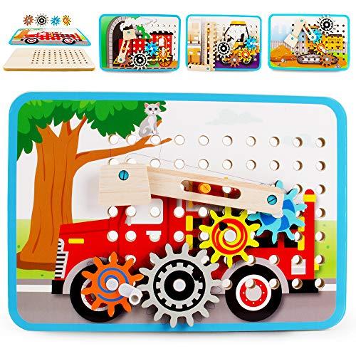 VATOS Zahnrad Holzpuzzle für Kinder, Motorikspielzeug Holzspielzeug mit 4 Automuster, Perfekt Pädagogisch Montessori Spielzeug ab 3 4 5 6+Jahre Jungen Mädchen