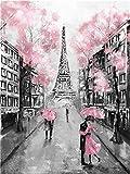 Kit de pintura al óleo por número para adultos principiantes, 40,6 x 50,8 cm – París romántico, dibujo con pinceles, decoración de Navidad regalos (sin marco)