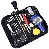 #N/V Kit de herramientas de reparación de relojes portátiles de 147 piezas con estuche de transporte, abridor de relojes profesional, extractor de pines, set de instrumentos de barra