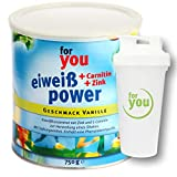 for you Power Eiweiß nach Strunz I Eiweißpulver Vanille 750g + Shaker I Eiweisspulver mit Carnitin Whey-Protein Sojaprotein Milchprotein I Biologische Wertigkeit 156 I Mehrkomponenten Pulver