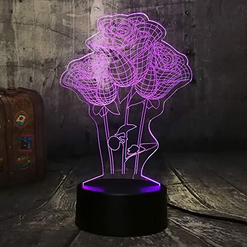 Sanzangtang Led-nachtlampje, 3D-visionzeven, kleuren-afstandsbediening, mooie roos bloem, eettafel, nachtlampje, verkleuring, huwelijkscadeau, romantisch licht jongens nachtlampje