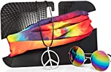 Hippie Costume Set for Women & Men. Kit Includes Sunglasses, Peace Sign Necklace & Headband to Make You The Hit of The Party (Classic)