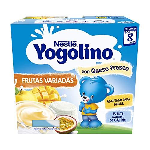 Nestlé Yogolino Postre lácteo Frutas variadas con queso - Para bebés a partir de 8 meses - pack de 3x4 tarrinas de postre lácteo de 100g