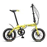 Chenbz Bicicleta Plegable 16 Pulgadas Mayúsculas Bicicleta Ligero Adulto Menores y Mujeres Doble Bike Double Disc Freno Bicicleta Plegable (Color: Amarillo, Tamaño: 130 * 30 * 83cm)