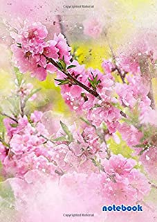 notebook: a4 8.27x11.69 cute lined journal notebook | cool notebook paper with page numbers and date | lined notebook college ruled | beautiful lined ... | flowers pink art abstract nature watercolor