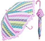 RainStoppers Girl's Heart Stripe Print Umbrella with Ruffle, 34-Inch, Multicolor (W104CHSTHRT)
