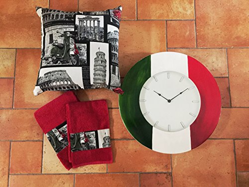 Set Coussin Tissu C/zip 40 x 40 + 2 éponges de bain insert Tissu Italie Artisanale Made in Italy 500 fiat + Horloge Métal à mur Handmade diamètre 60 cm Pennellato à main – introuvable