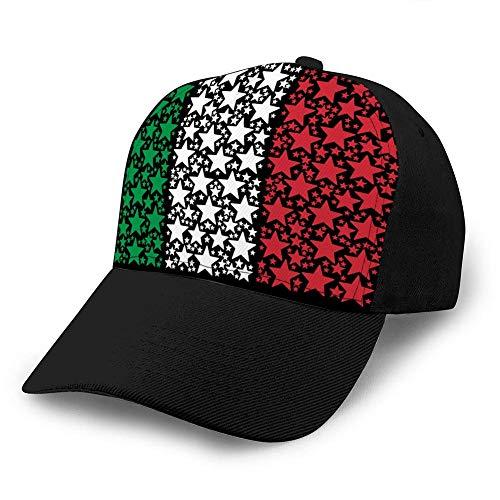 zsxaaasdf Frauen Snap Back Ball Cap, atmungsaktiv, verstellbar Italien Flagge Mosaik von Feuerwerk Star Icons Trucker Hats