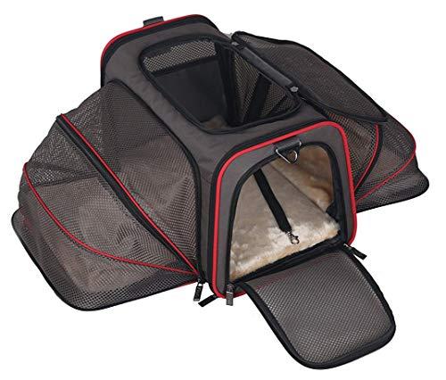 ABISTAB Pet erweiterbare Tragetasche, ausklappbar, Faltbare Haustiertrage mit bequemer Liegematte, weicher Katzenkorb Hundekorb Transporttasche,für Auto- und Flugreisen geeignet :1-Schwarz-Kirschrot