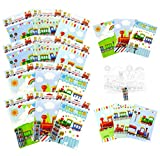 TINYMILLS Train Coloring Book Set with 12 Coloring Books and 48 Crayons Train Birthday Party Supplies Favor Bag Filler Carnival Prizes Rewards Classroom Party Chugga Chugga Two Two Party Favors