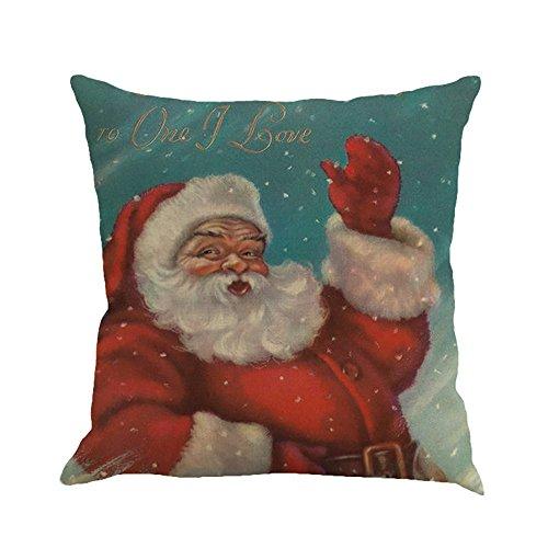 H.eternal(TM) 4 Piezas de algodón de Lino para decoración de sofá, Coche, casa, Cintura, cojín, Funda de Almohada Creativa de Papá Noel, decoración de salón, Cuadrada, 18 x 18 Pulgadas