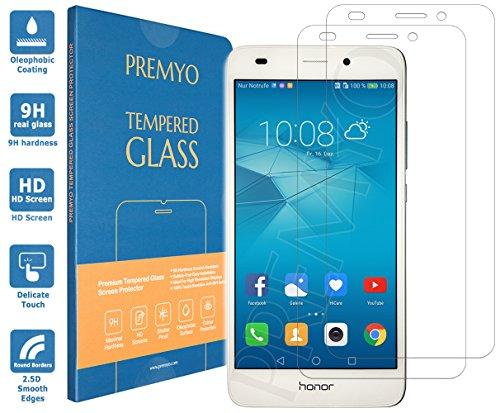 PREMYO 2 Stück Panzerglas Schutzglas Bildschirmschutzfolie Folie kompatibel für Honor 5C Blasenfrei HD-Klar 9H 2,5D Gegen Kratzer Fingerabdrücke