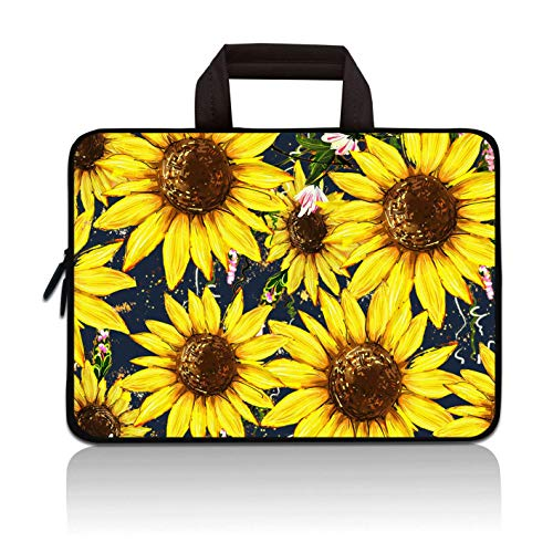 14 15 15.4 15.6 inch Laptop Handle Bag Computer Protect Case Pouch Holder Notebook Sleeve Neoprene Cover Soft Carrying Travel Case for Dell Lenovo Toshiba HP Chromebook ASUS Acer (Sunflower)