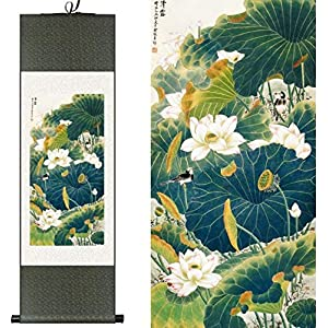 Features Chinese Style Chinese Watercolor Silk Flower and Birds Lotus Kingfisher Ink Art Print Canvas Wall Picture Paintings Framed Damask Roller Gift 100X30CM, Green Packet, Color: Green Package