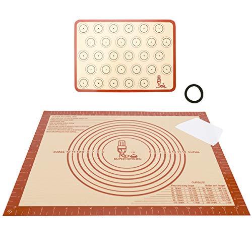 Antihafte Silikon Groß Backunterlage Backmatte mit Teigschaber, Rutschfeste Ausrollmatte Teigmatte Silikonmatte Backpapier für Macaron/ Fondant/ Pizza/ Brot Matte, BPA Frei (50x40cm, 42x30cm, Rot)