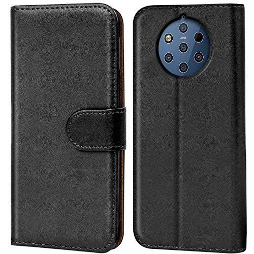CoolGadget Handyhülle für Nokia 9 Pureview Hülle, Book Hülle Premium PU Leder Flip Cover Schutzhülle für Nokia 9 Pureview Tasche, Schwarz