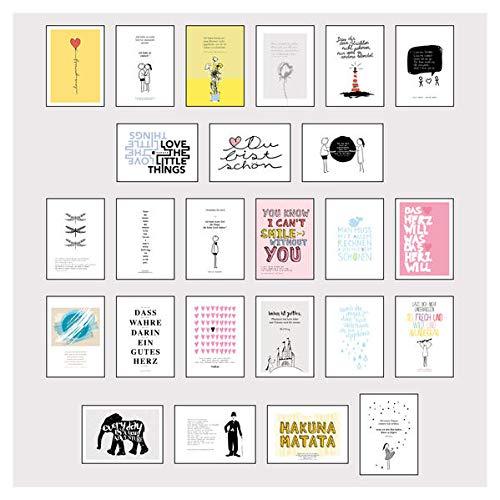 Postkarten Box - Set mit 25 Detailverliebten und Hand designten hochwertigen Postkarten mit liebevollen Zitaten und Sprüchen: 25 Postkarten die glücklich machen