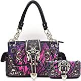 Camouflage Crown Buckle Western Style Concealed Carry Purse Country Handbag Women Shoulder Bag Wallet Set (Purple)