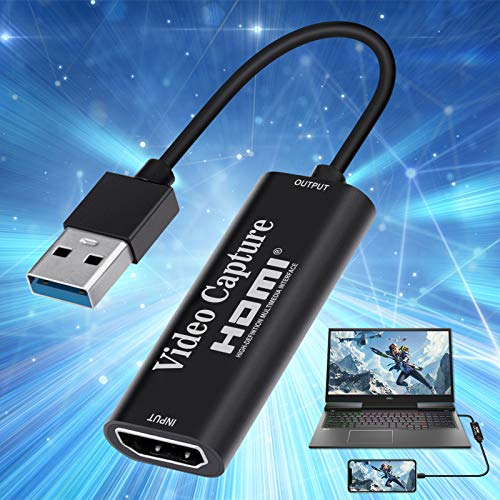 Taktoppy Video Capture Card, 1080P HDMI Capture Card 4K HDMI to USB Cam Link Audio Capture Card Device Record to DSLR Camcorder Action Cam,Computer for Gaming, Streaming, Teaching, Video Conference