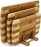 Relaxdays 10018877 Set di Taglieri Design con Base, Legno di bambù, 39 X 25.5 X 1.5 cm, M...