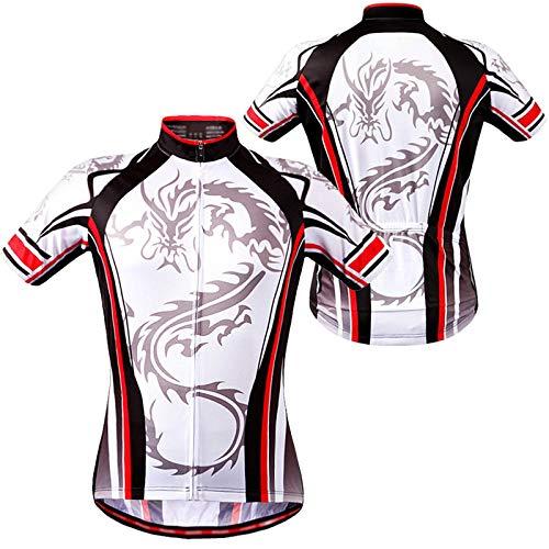 Hombre Maillot Ciclismo Manga Corta,MTB Camiseta Ciclismo Manga Corta,Secado Rápido Transpirable Elástico Ropa Bicicleta,con 3 Bolsillos Traseros Ropa Ciclismo(Size:XXL,Color:Blanco)