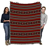 Saddleblanket - Red - Southwest Native American Inspired Tribal Camp - Cotton Woven Blanket Throw - Made in The USA (72x54)