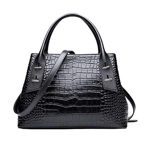 Valin Bolso de mano de mujer de piel, informal, estampado de cocodrilo, suave, bolso de la compra, bandolera con correa, 32,5 x 13 x 22 cm, color Negro, talla One size