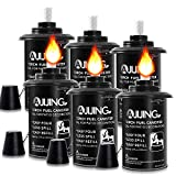 AJIJING Torch Canisters for Tiki,6 Pcs Metal Citronella Fuel Torches Replacement Canisters with Wicks and Covers for Tiki Bamboo Torch,Patio Torch for Luau Party,DIY Garden Torch Decor (12 Ounce)