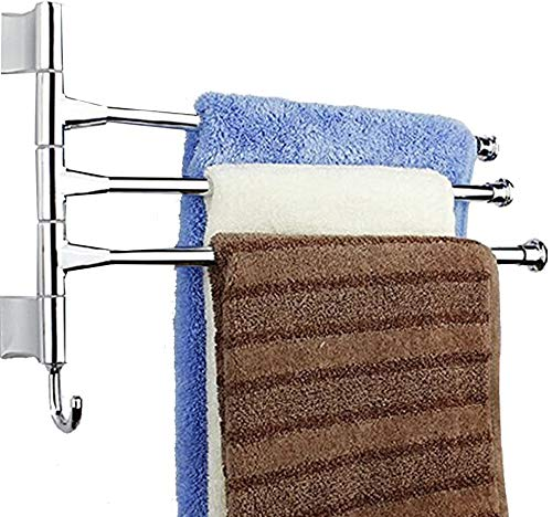 eoocvt Wall-Mounted Bathroom Kitchen Towel Rack Holder - 3 Swing Arms, Polished Stainless Steel