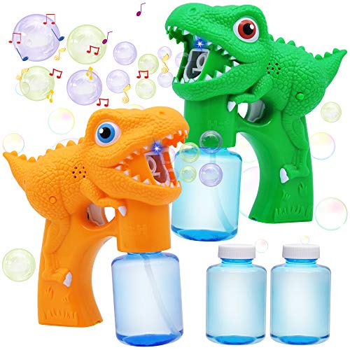 JOYIN 2 Dinosaur Bubble Guns with 2 Bubble Solution (147 ml) for Toddlers, Bubble Maker and Blower, Indoor and Outdoor Summer Play Toys, Kids Party Favor, Game Toys