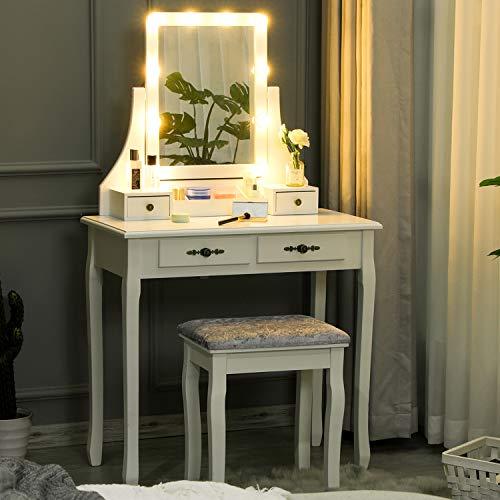 Tiptiper Weiß Schminktisch mit LED-beleuchtetem Spiegel, Frisiertisch mit Gepolsterter Hocker, 4 Schubladen und Abnehmbarer Aufbewahrungsbox