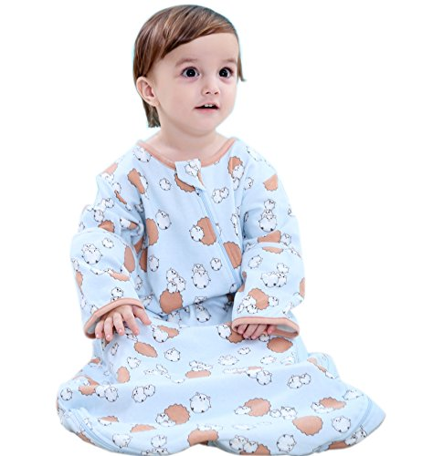 """Beyond Your Thoughts 100% Cotton Toddlers Wearable Blanket Baby Sleeping Bag Spring/Autumn 2.5 Tog Up to 40"""" Height of Child Blue Sheep"""