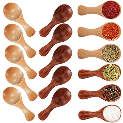 Osun 20 Stücke Mini Holzlöffel mit kurzem Griff Kleiner Salzlöffel aus Holz für kleine Marmeladengläser, Gewürze, Gewürze, Gewürze, Zucker, Honig, Kaffee, Tee, Senf, Eiscreme, Milchpulver