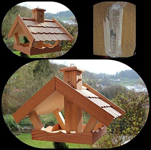 Vogelhaus Vogelhäuser VB53 Vogelfutterhaus Vogelhäuschen-aus Holz mit Lerchenholzschindeln