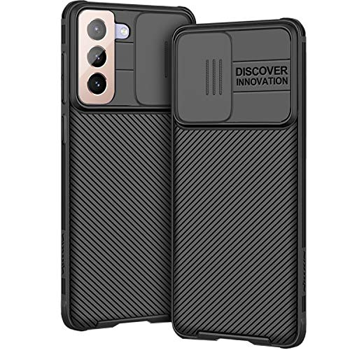 AROYI Hülle Kompatibel mit Samsung Galaxy S21 Plus 5G, Kameraschutz mit Slide Camera Cover - Schwarz