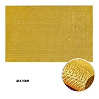 6、新PVC絶縁非スリップ断熱洗えるプレースマットキッチン食卓場所マット45X30CMの表マットセット,オレンジ色