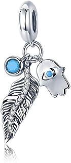 Abalorio de plata de ley 925 con dise/ño de pluma bohemia y mano de F/átima con ojo azul para pulsera de bricolaje