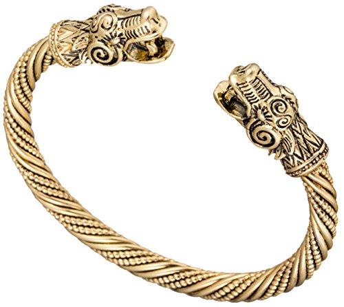 Pulsera de diseño vikingo con motivos de dragones, acabado dorado