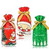 HOWAF 30 Pezzi Natale Sacchetti con Coulisse per Caramelle Regali, Medio Dolce Biscotti Sacchetti Borsa per Bambini Alimentari Confetti Bomboniera, Albero di Natale Babbo Feste Sacchetti