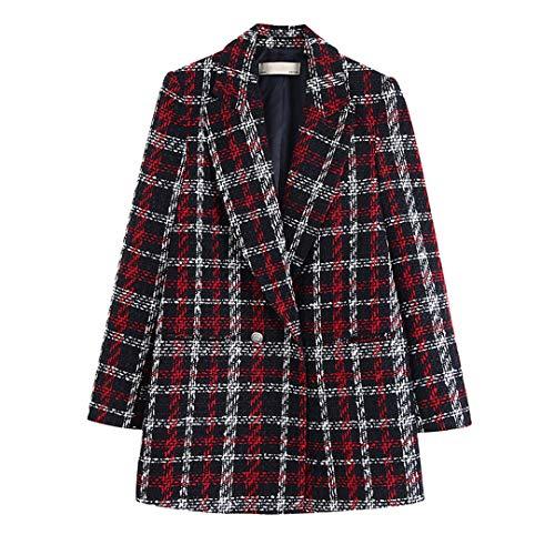 BoxJCNMU Twist Frauen Tweed Plaid Blazer Zweireihige Karo-Jacke Buttons starker Warmer eleganter Anzug Mantel Plaid Blazer M