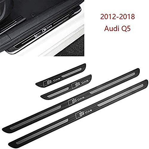 HHY-X 4 Stück Edelstahl Auto Türschwelle Trittplatten,für 2012-2018 Audi Q5 Einstiegsleisten-Trittbrettschutz Trim Guard Cover Aufkleber Car Styling Zubehör
