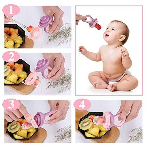Endureal Fruchtsauger 3 Fruchtsauger für Baby & Kleinkind Baby Fruchtsauger Schnuller 9 Silikon-Sauger in 3 Größen Schätzchen Schnuller Gemüse sauger für Schätzchen - 6