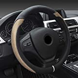 Super PDR Steeing Wheel Cover,Leather Anti-Slip Auto Steering Wheel Cover Universal 15 inch Car Steering (Black&Gold)