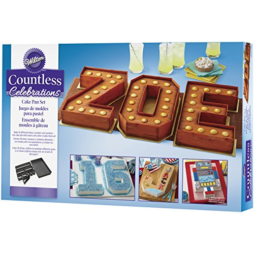 Wilton Countless Celebrations Numbers & Letters Cake Tin Set, Non Stick, 36.8 x 22.8cm (14.5 x 9in)