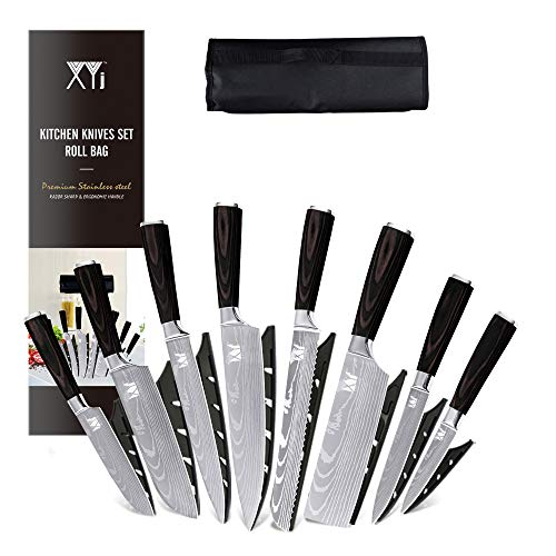 XYJ Stainless Steel Kitchen Knives Set 8 Piece Chef Knife...