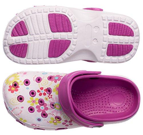 BRANDSSELLER Zuecos de Mujer | Zapato de jardín | Zapatillas | Zapatos de baño | Zapatillas Sandalias | Patrón Floral | Rosa/Blanco | 37 EU
