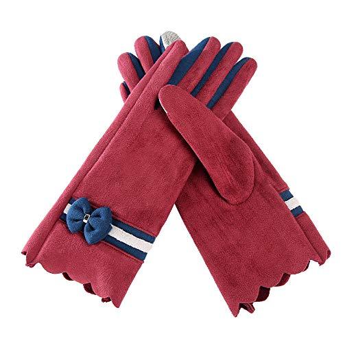 Handschoenen Mittens Ski Handschoenen Lady handschoenen Winter handschoenen vrouwen handschoenen voor Rijden paardrijden outdoor houden warme wanten-Wijn
