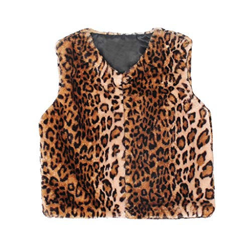 EnjoCho 12M-6Y Cute Toddler Kids Baby Girl Vest Coat Warm Fuzzy Leopard Print Vest Coat Jacket Faux Fur Waistcoat Winter Clothes (Age:5-6 Years, Brown)