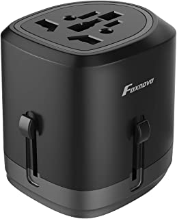 International Universal Travel Adapter, Foxnovo Worldwide All in One Power Converters with Dual USB Charging Ports Wall Charger Plug for EU/US/UK/AUS/Asia Cell Phone/Laptop/All USB Devices