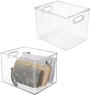 mDesign boite de rangement avec poignées – bac plastique pour rangement vêtements, chaussures, etc. – idéal comme bac de r...
